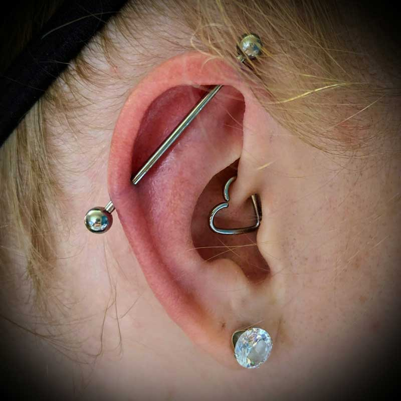 Industrial Bar Piercing at Hippie Hoops and Holes Body Piercing studio, Nampa Idaho