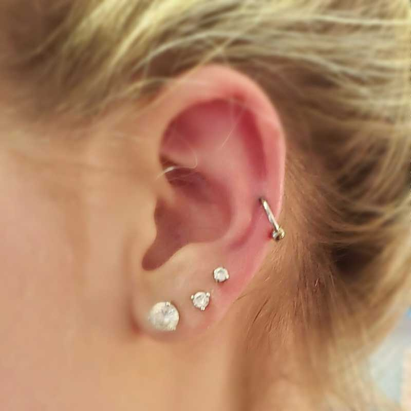Outer Helix Piercing at Hippie Hoops and Holes Body Piercing studio, Nampa Idaho