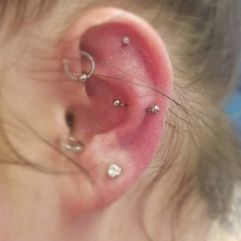Snug/AntiTragus Piercing at Hippie Hoops and Holes Body Piercing studio, Nampa Idaho